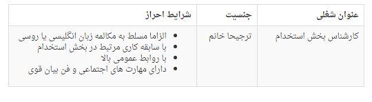 استخدام کارشناس بخش استخدام در شرکت راشا پارس رایان در تهران