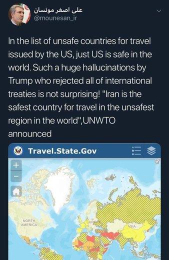 افزودن ایران به عنوان لیست کشورهای ناامن برای سفر از سوی آمریکا و واکنش مونسان
